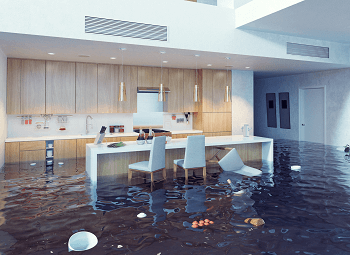 galley style kitchen with an island completely flooded